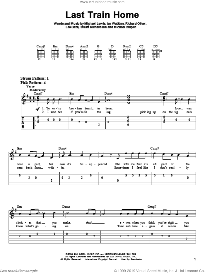 Last Train Home sheet music for guitar solo (easy tablature) by Stuart Richardson, Michael Lewis and Richard Oliver. Score Image Preview.