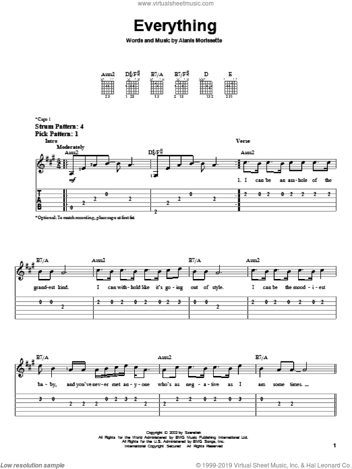 Everything sheet music for guitar solo (easy tablature) by Alanis Morissette. Score Image Preview.