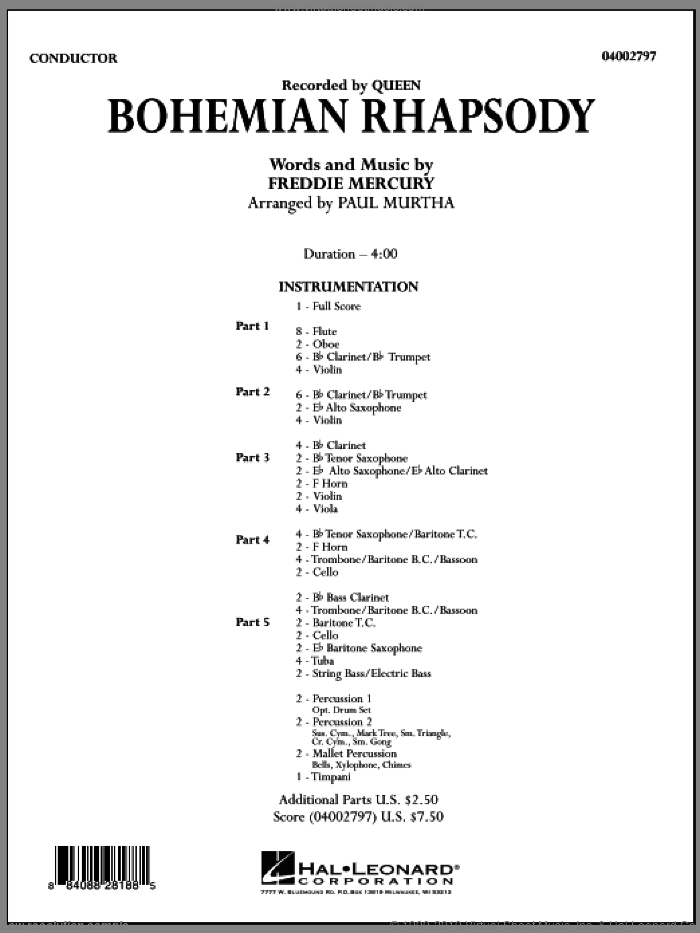 Bohemian Rhapsody (COMPLETE) sheet music for concert band by Freddie Mercury, Paul Murtha and Queen, intermediate skill level