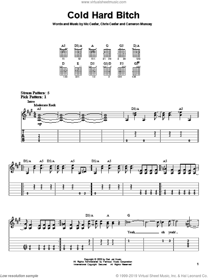 Cold Hard Bitch sheet music for guitar solo (easy tablature) by Nic Cester, Cameron Muncey and Chris Cester, easy guitar (easy tablature). Score Image Preview.
