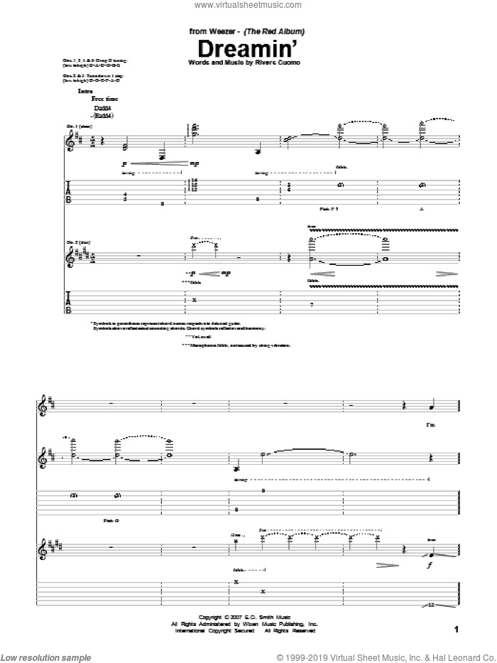 Dreamin' sheet music for guitar (tablature) by Weezer. Score Image Preview.