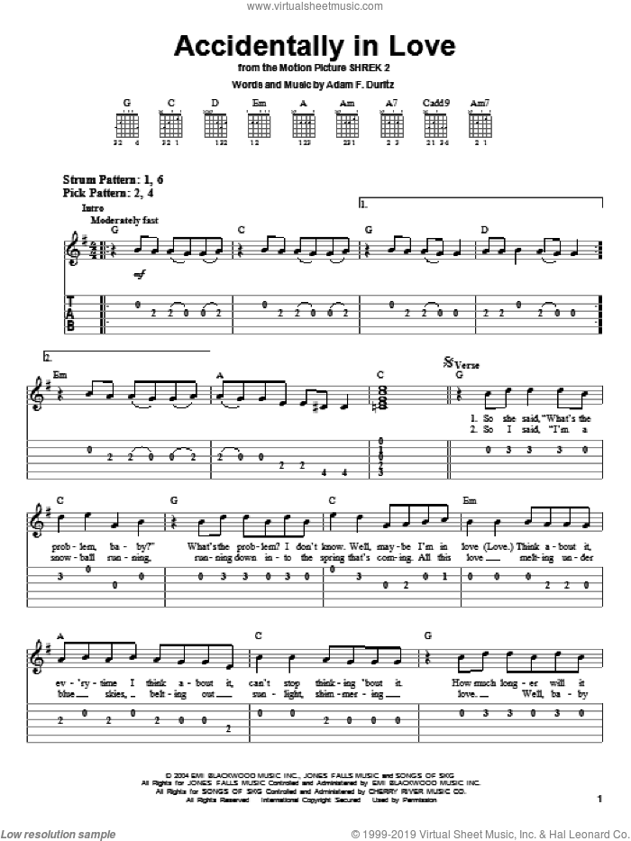 Accidentally In Love sheet music for guitar solo (easy tablature) by Adam Duritz and Counting Crows. Score Image Preview.