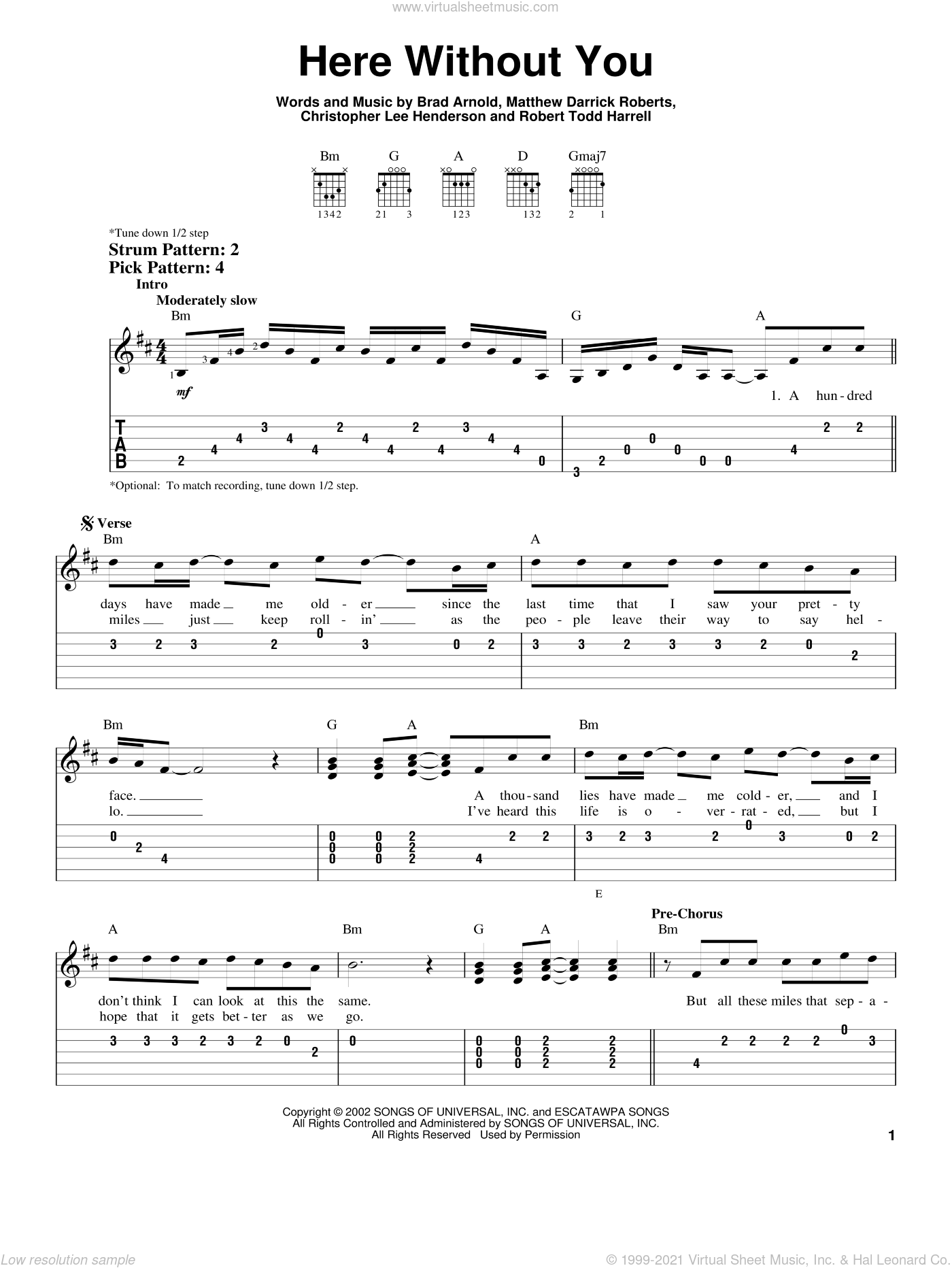 Here Without You sheet music for guitar solo (easy tablature) by 3 Doors Down, Brad Arnold, Christopher Henderson, Matt Roberts and Robert Harrell, easy guitar (easy tablature)