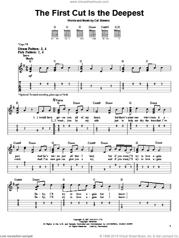 The First Cut Is The Deepest sheet music for guitar solo (easy tablature) by Sheryl Crow, Rod Stewart and Cat Stevens, easy guitar (easy tablature)