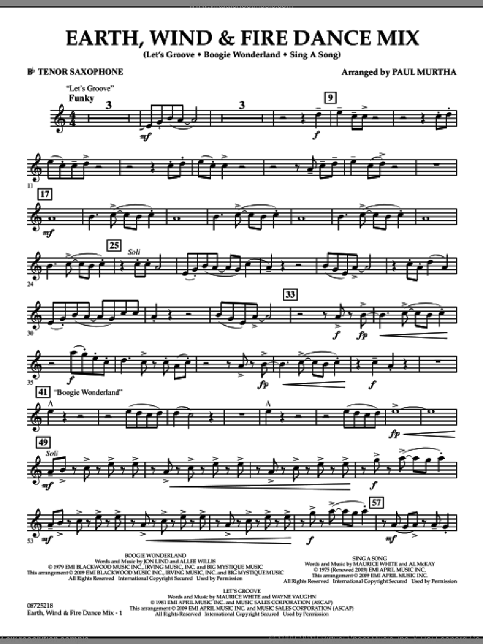 Fire Dance Mix sheet music for concert band (Bb tenor saxophone) by Paul Murtha