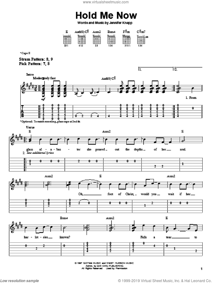 Hold Me Now sheet music for guitar solo (easy tablature) by Jennifer Knapp, easy guitar (easy tablature)
