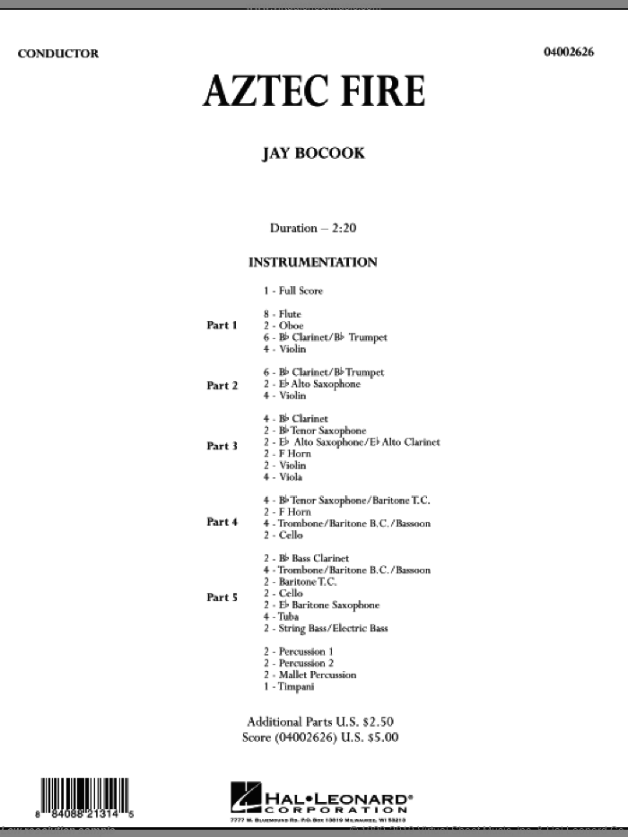 Aztec Fire (COMPLETE) sheet music for concert band by Jay Bocook, intermediate skill level