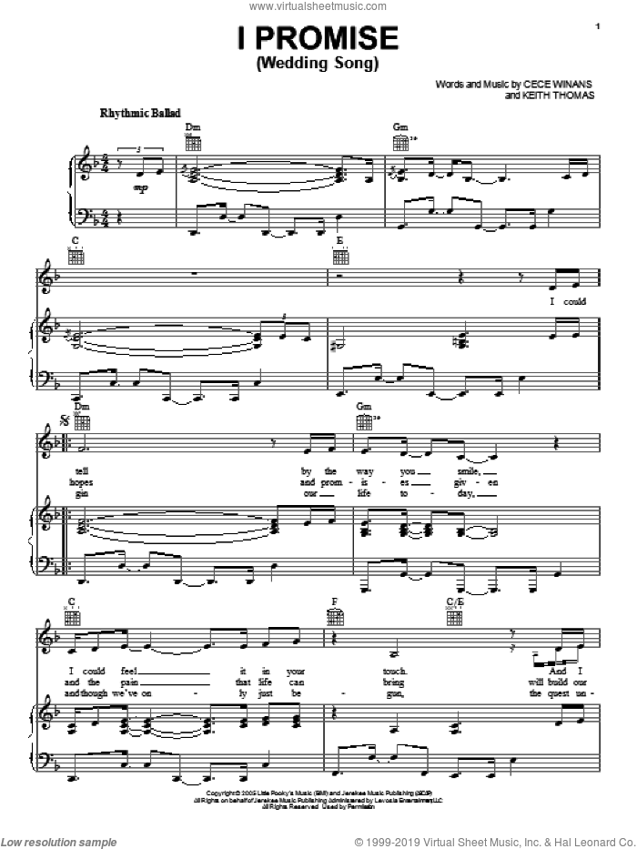 I Promise (Wedding Song) sheet music for voice, piano or guitar by CeCe Winans and Keith Thomas, wedding score, intermediate skill level