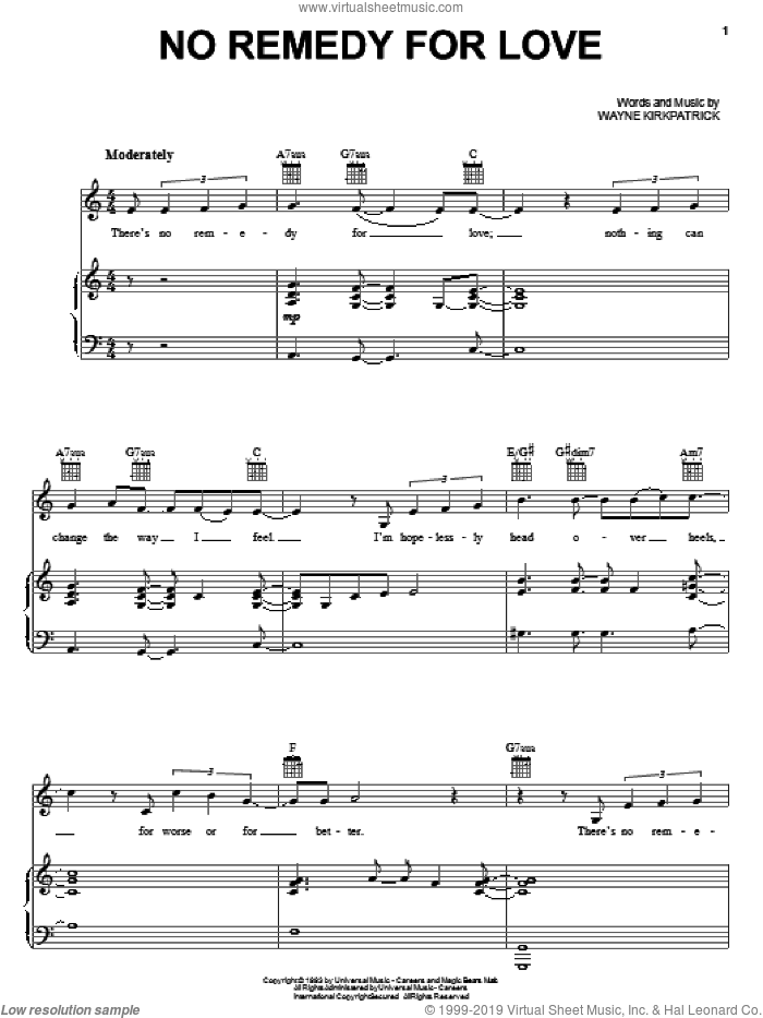 No Remedy For Love sheet music for voice, piano or guitar by Wayne Kirkpatrick and Susan Ashton. Score Image Preview.