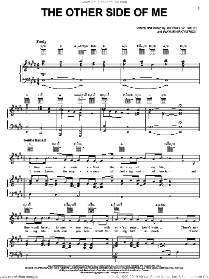 The Other Side Of Me sheet music for voice, piano or guitar by Wayne Kirkpatrick and Michael W. Smith. Score Image Preview.