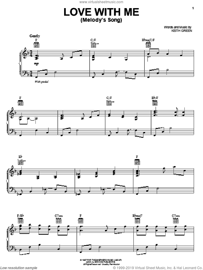 Love With Me (Melody's Song) sheet music for voice, piano or guitar by Keith Green, wedding score, intermediate skill level