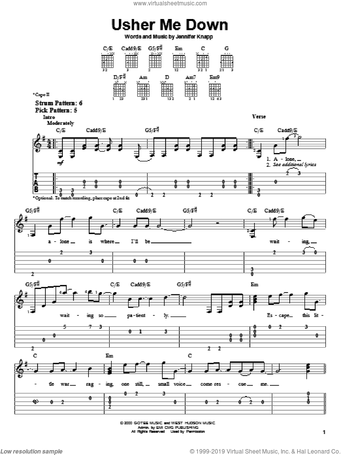 Usher Me Down sheet music for guitar solo (easy tablature) by Jennifer Knapp, easy guitar (easy tablature)