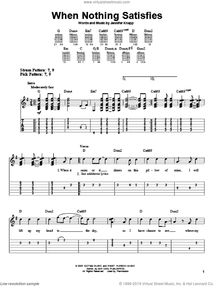 When Nothing Satisfies sheet music for guitar solo (easy tablature) by Jennifer Knapp, easy guitar (easy tablature)