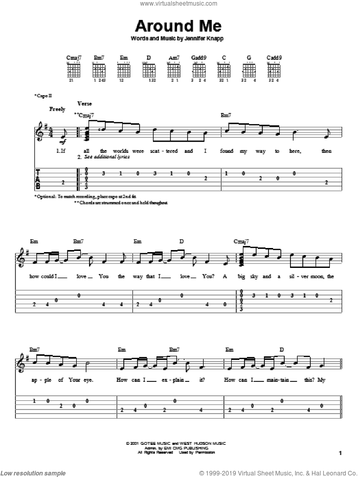 Around Me sheet music for guitar solo (easy tablature) by Jennifer Knapp, easy guitar (easy tablature)