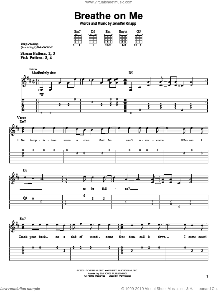 Breathe On Me sheet music for guitar solo (easy tablature) by Jennifer Knapp, easy guitar (easy tablature)