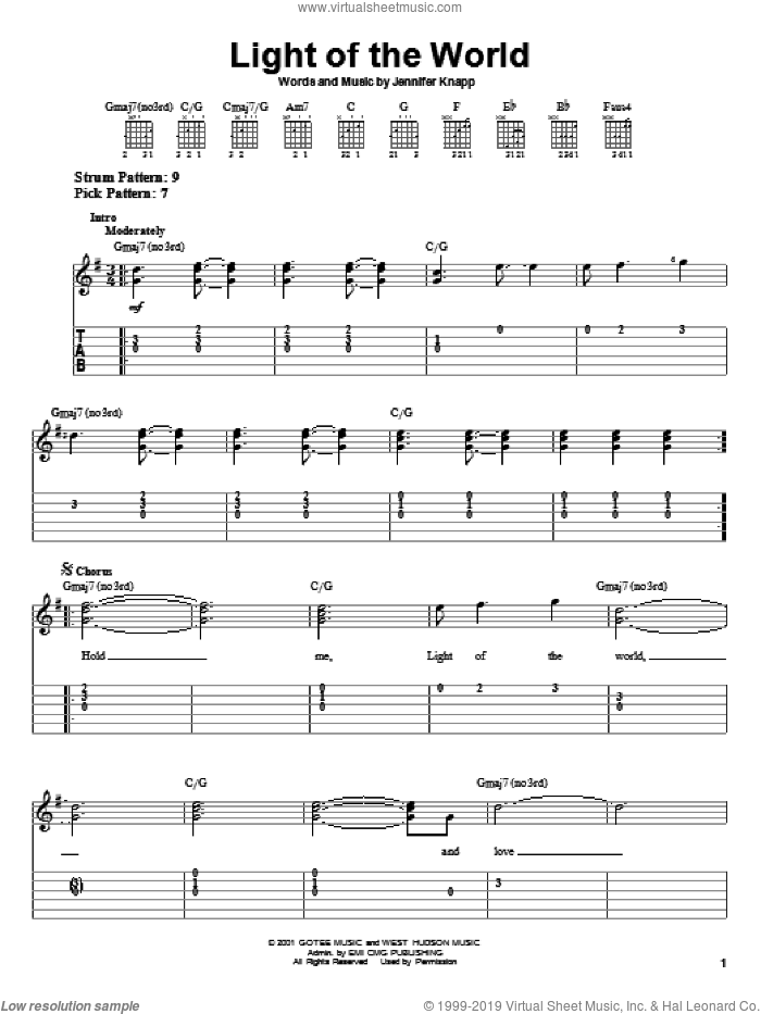 Light Of The World sheet music for guitar solo (easy tablature) by Jennifer Knapp, easy guitar (easy tablature)