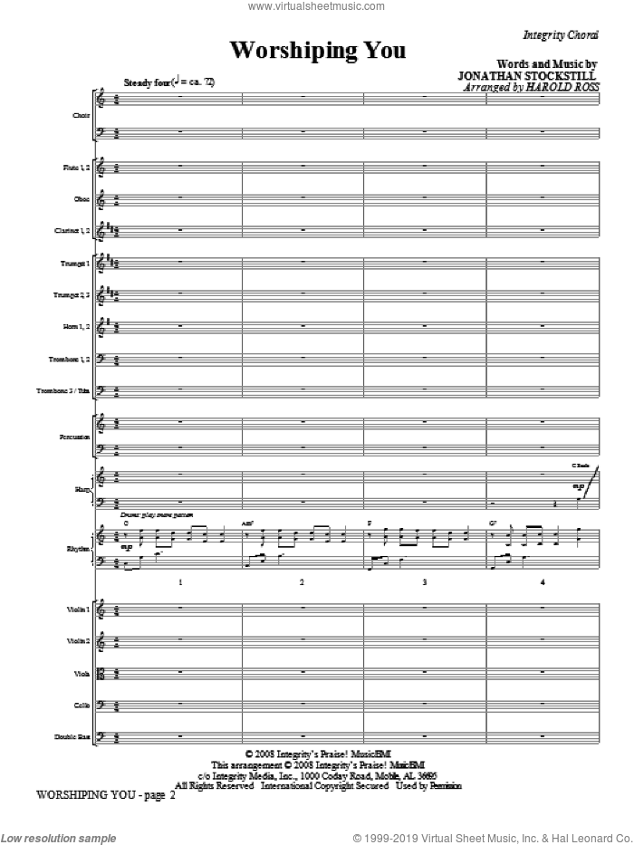 Worshiping You (COMPLETE) sheet music for orchestra/band (Orchestra) by Jonathan Stockstill and Harold Ross, intermediate skill level