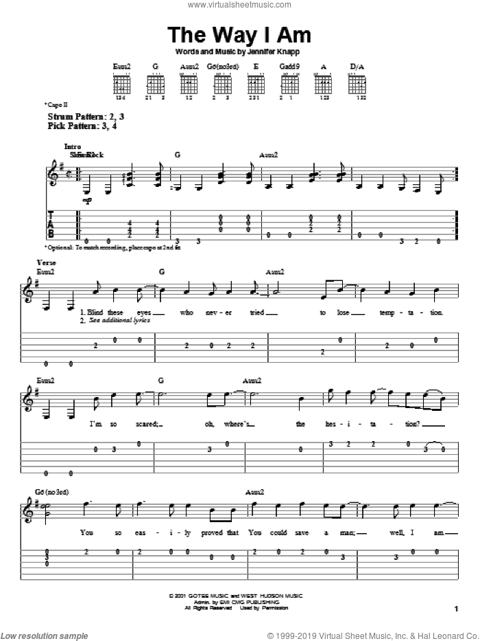 The Way I Am sheet music for guitar solo (easy tablature) by Jennifer Knapp, easy guitar (easy tablature)