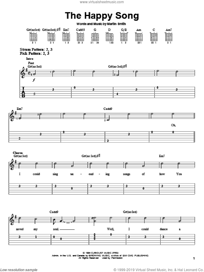 The Happy Song sheet music for guitar solo (easy tablature) by Delirious? and Martin Smith. Score Image Preview.