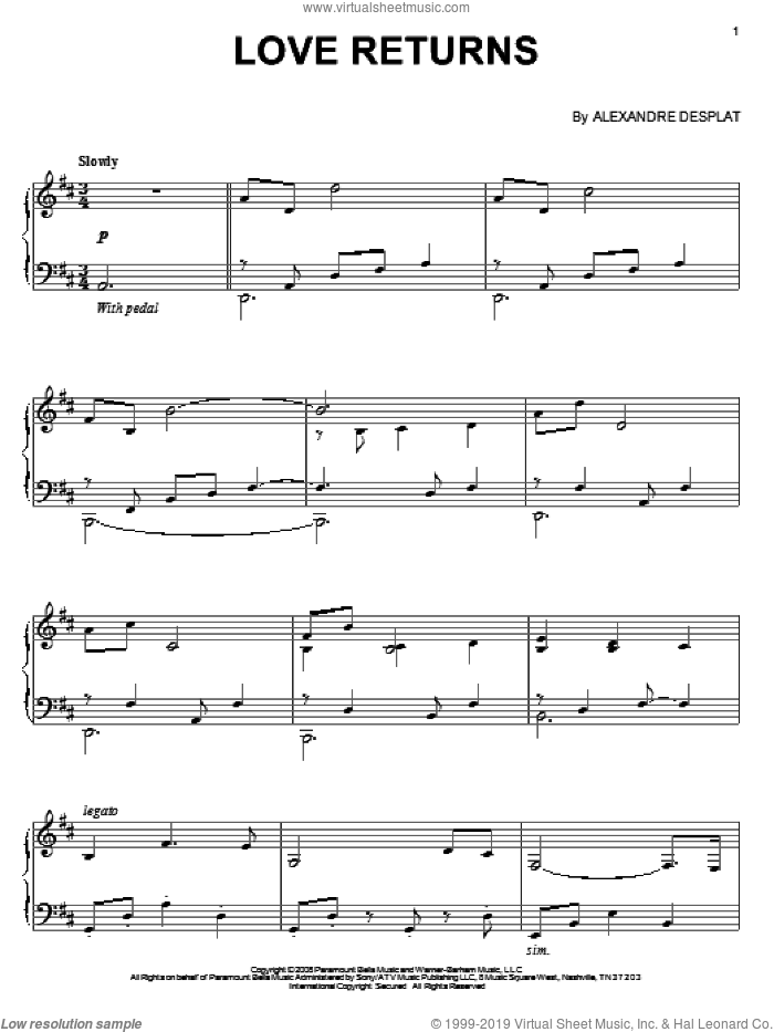 Love Returns sheet music for piano solo by Alexandre Desplat and The Curious Case Of Benjamin Button (Movie), intermediate skill level