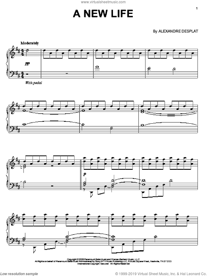 A New Life sheet music for piano solo by Alexandre Desplat. Score Image Preview.