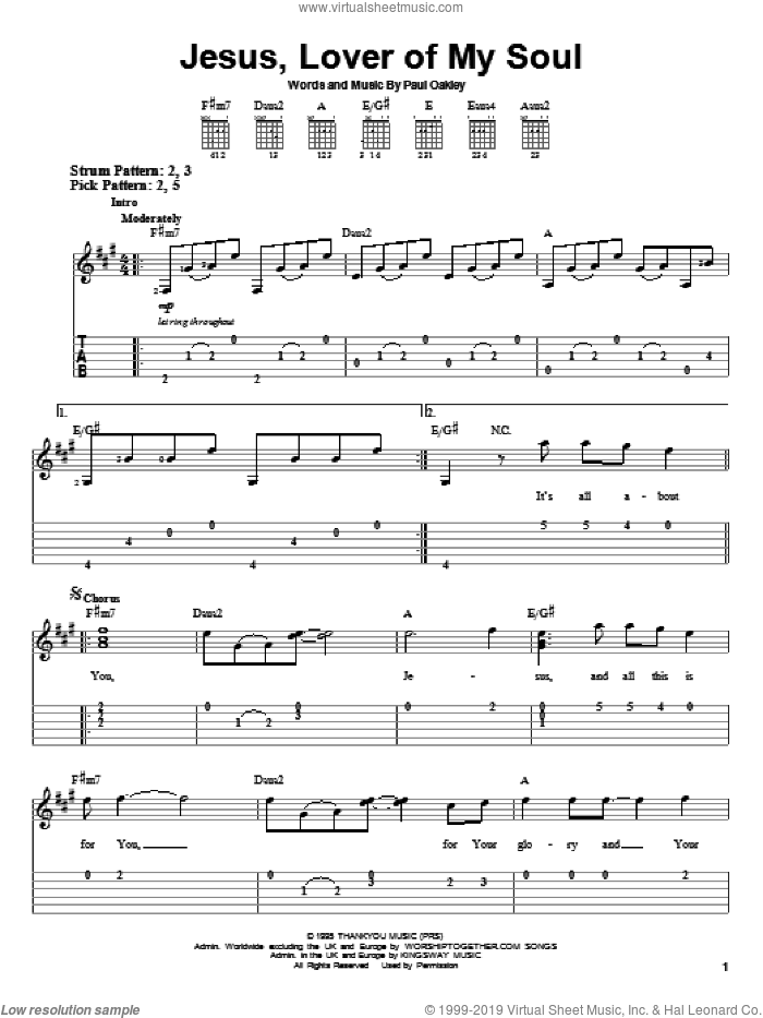 Jesus, Lover Of My Soul sheet music for guitar solo (easy tablature) by Passion Band and Paul Oakley, easy guitar (easy tablature)