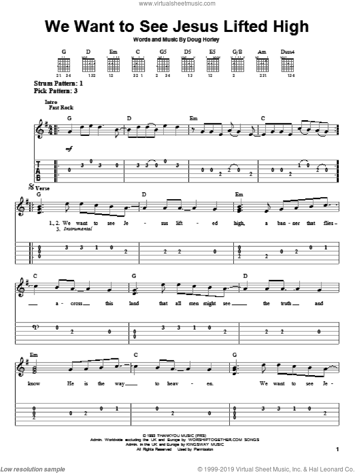 We Want To See Jesus Lifted High sheet music for guitar solo (easy tablature) by Noel Richards and Doug Horley, easy guitar (easy tablature). Score Image Preview.