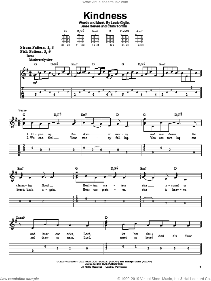 Kindness sheet music for guitar solo (easy tablature) by Louie Giglio, Chris Tomlin and Jesse Reeves. Score Image Preview.