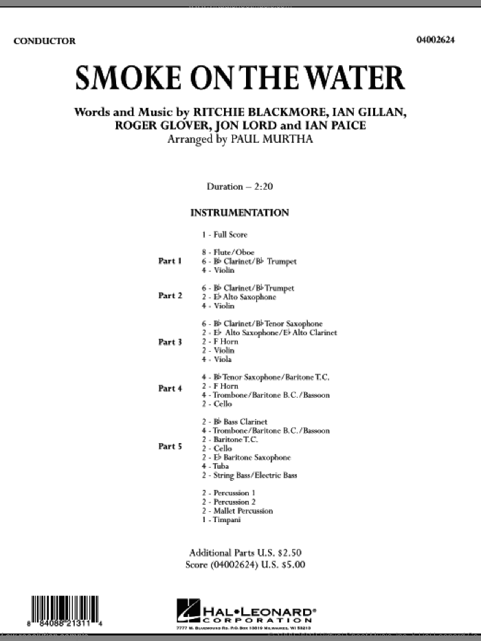 Smoke on the Water (COMPLETE) sheet music for concert band by Paul Murtha, Ian Gillan, Ritchie Blackmore, Roger Glover and Deep Purple, intermediate. Score Image Preview.
