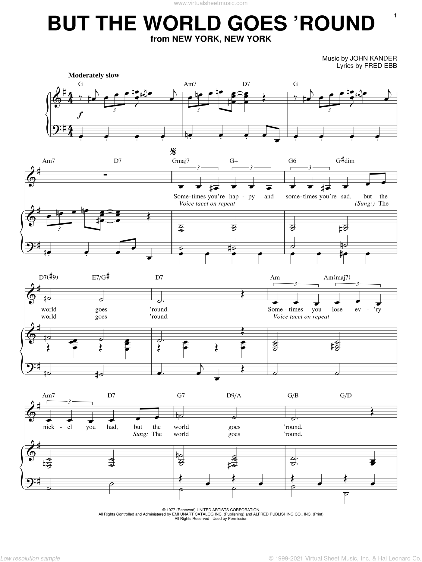 But The World Goes 'Round sheet music for voice and piano by John Kander