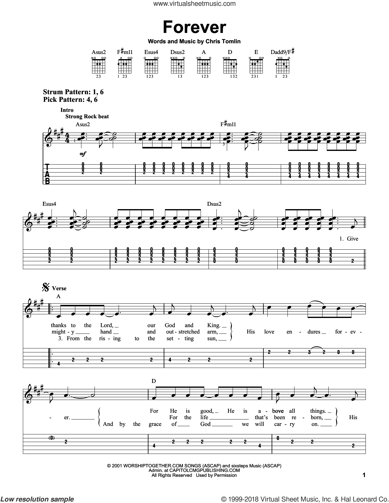 Forever sheet music for guitar solo (easy tablature) by Chris Tomlin. Score Image Preview.