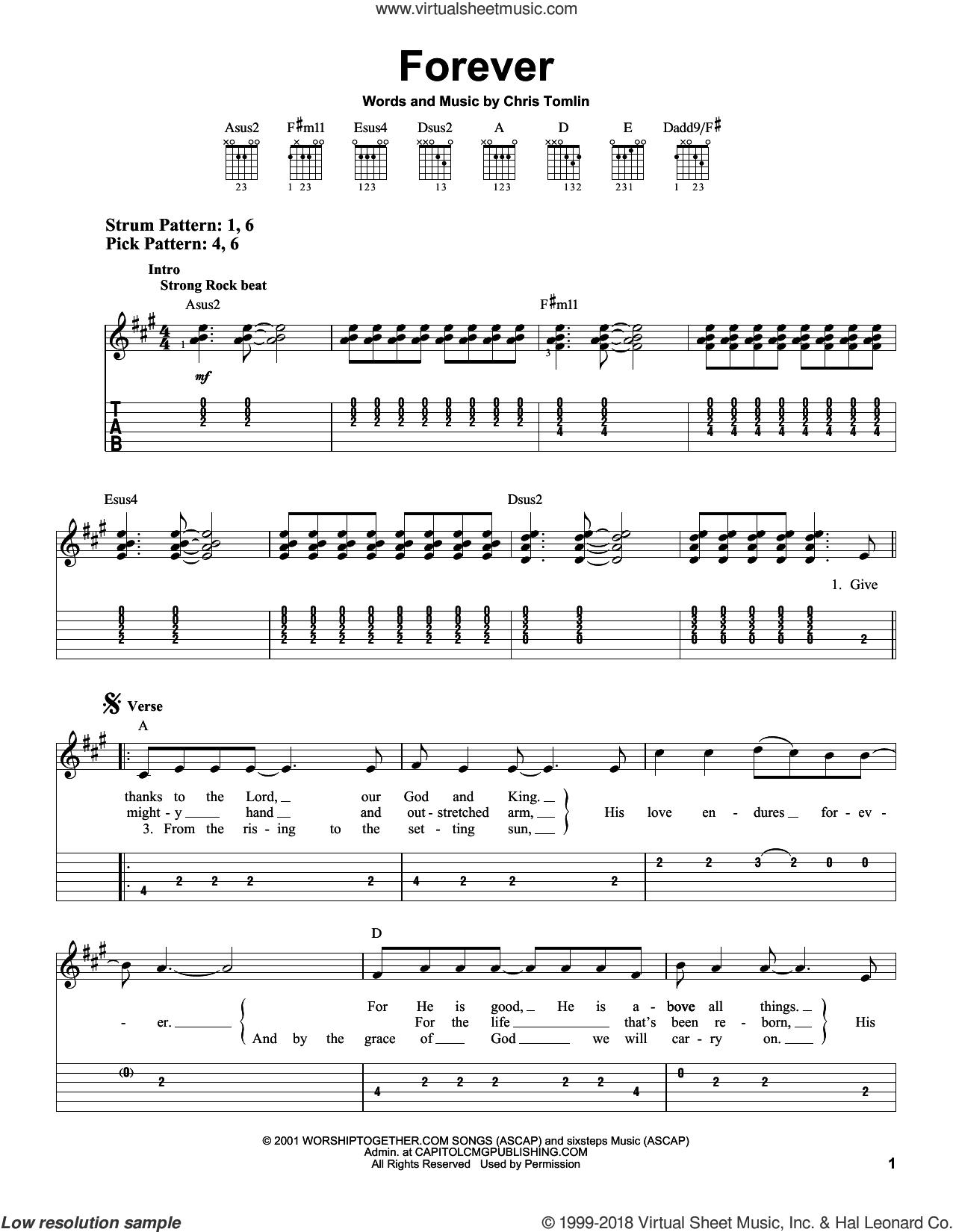 Forever sheet music for guitar solo (easy tablature) by Chris Tomlin, easy guitar (easy tablature)