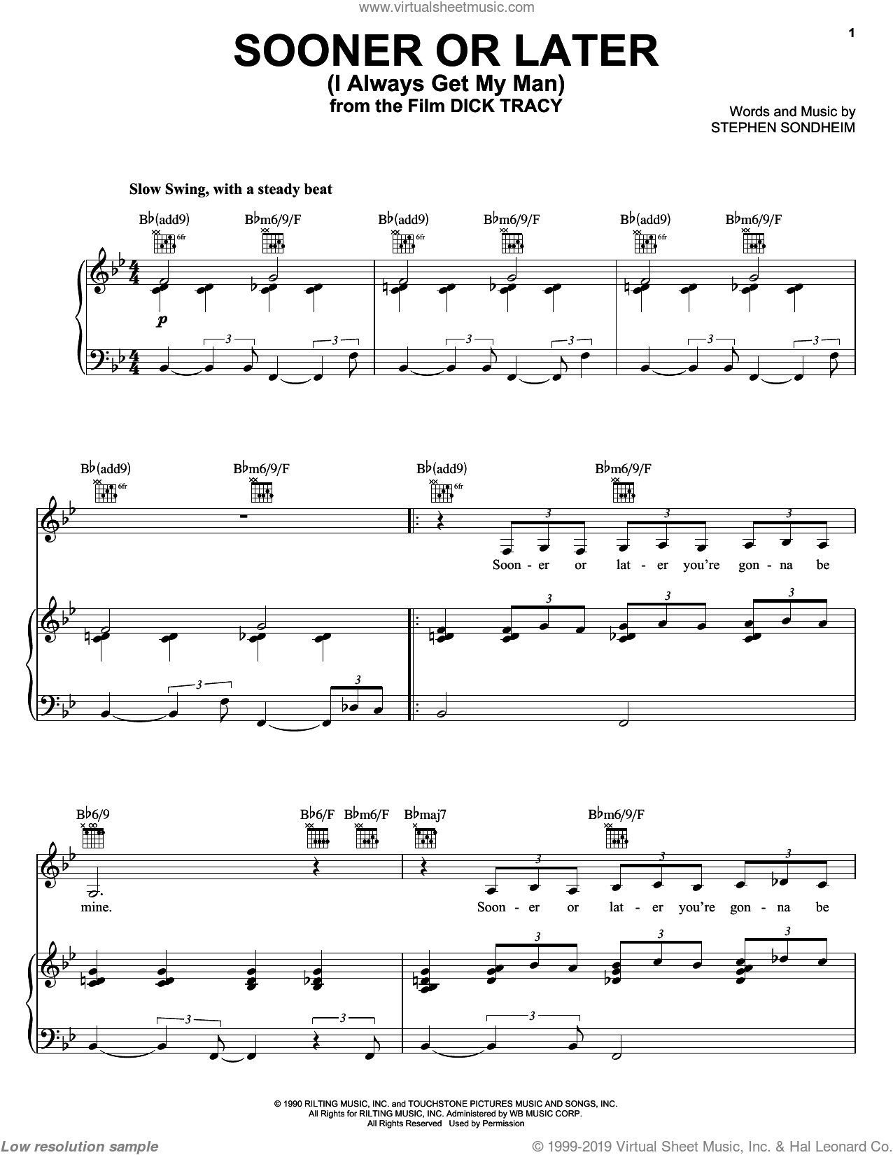 Sooner Or Later (I Always Get My Man) sheet music for voice, piano or guitar by Stephen Sondheim, intermediate skill level