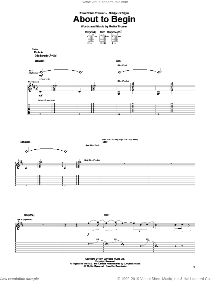 About To Begin sheet music for guitar (tablature) by Robin Trower. Score Image Preview.