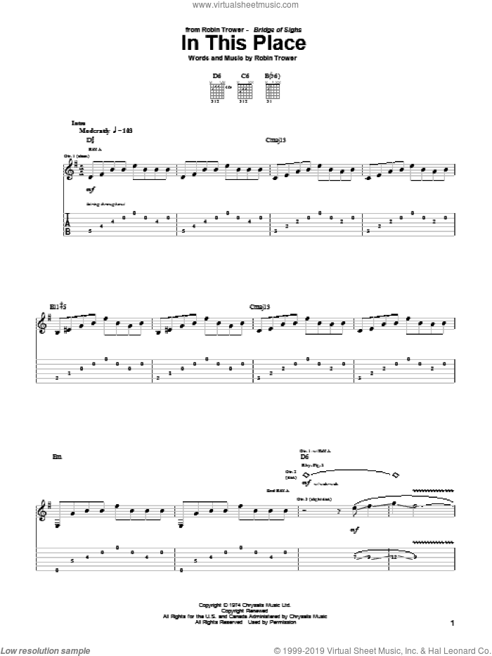 In This Place sheet music for guitar (tablature) by Robin Trower, intermediate guitar (tablature). Score Image Preview.