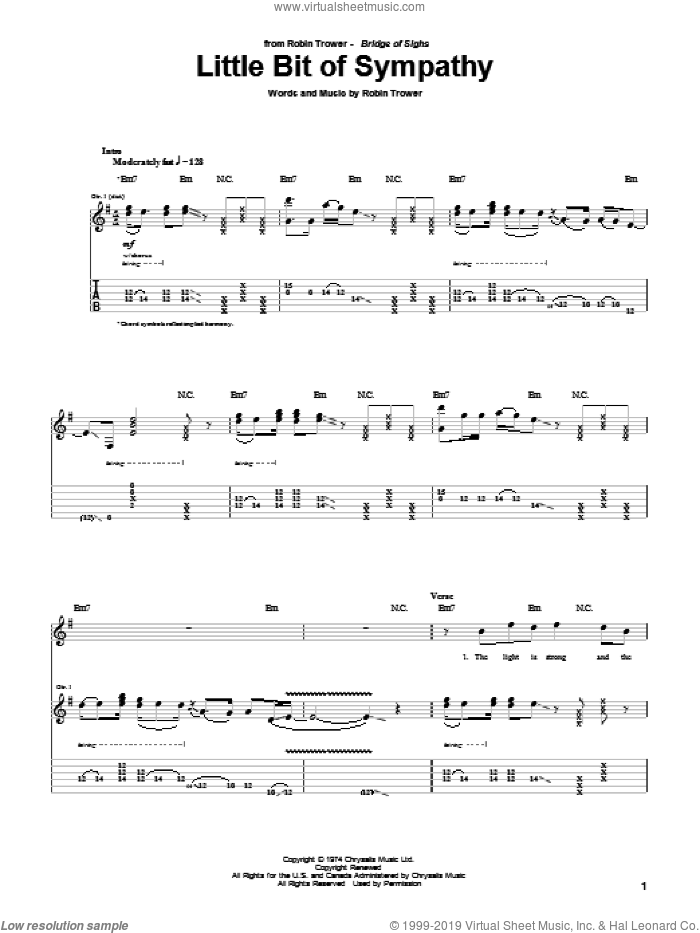Little Bit Of Sympathy sheet music for guitar (tablature) by Robin Trower
