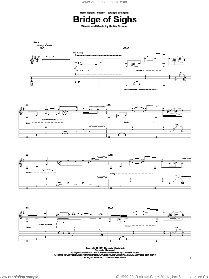 Bridge Of Sighs sheet music for guitar (tablature) by Robin Trower. Score Image Preview.