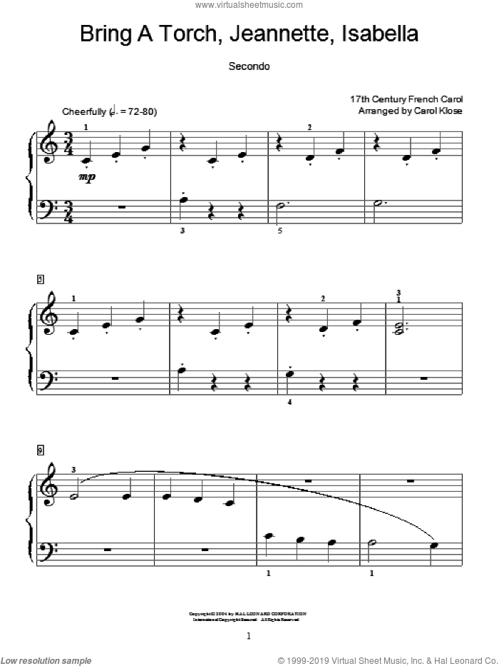 Bring A Torch, Jeannette Isabella sheet music for piano four hands by Anonymous, Carol Klose and Miscellaneous, intermediate skill level