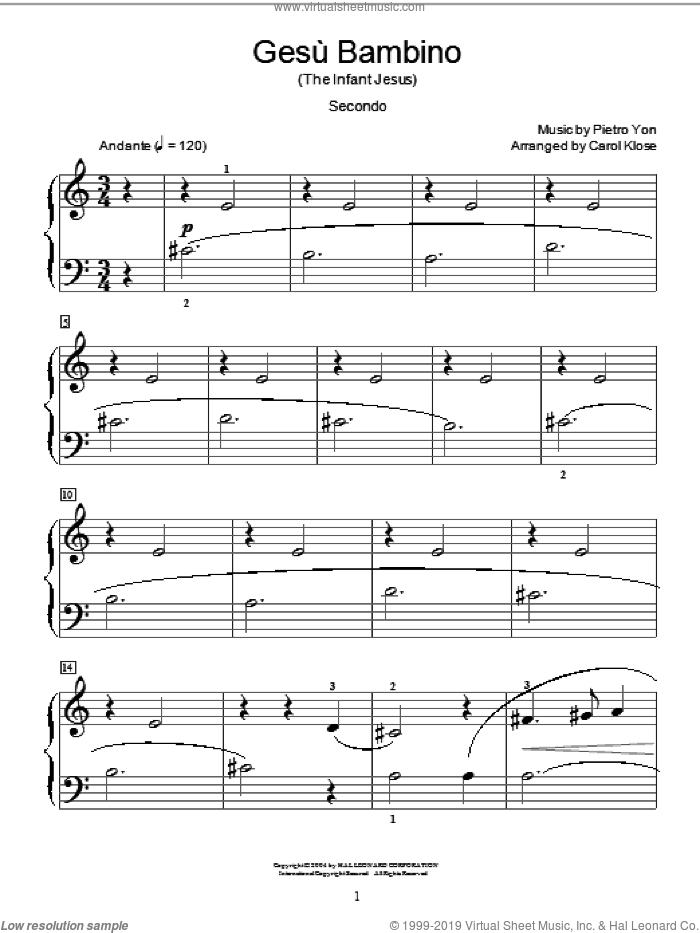 Gesu Bambino (The Infant Jesus) sheet music for piano four hands (duets) by Pietro Yon, Carol Klose, Miscellaneous and Frederick H. Martens. Score Image Preview.