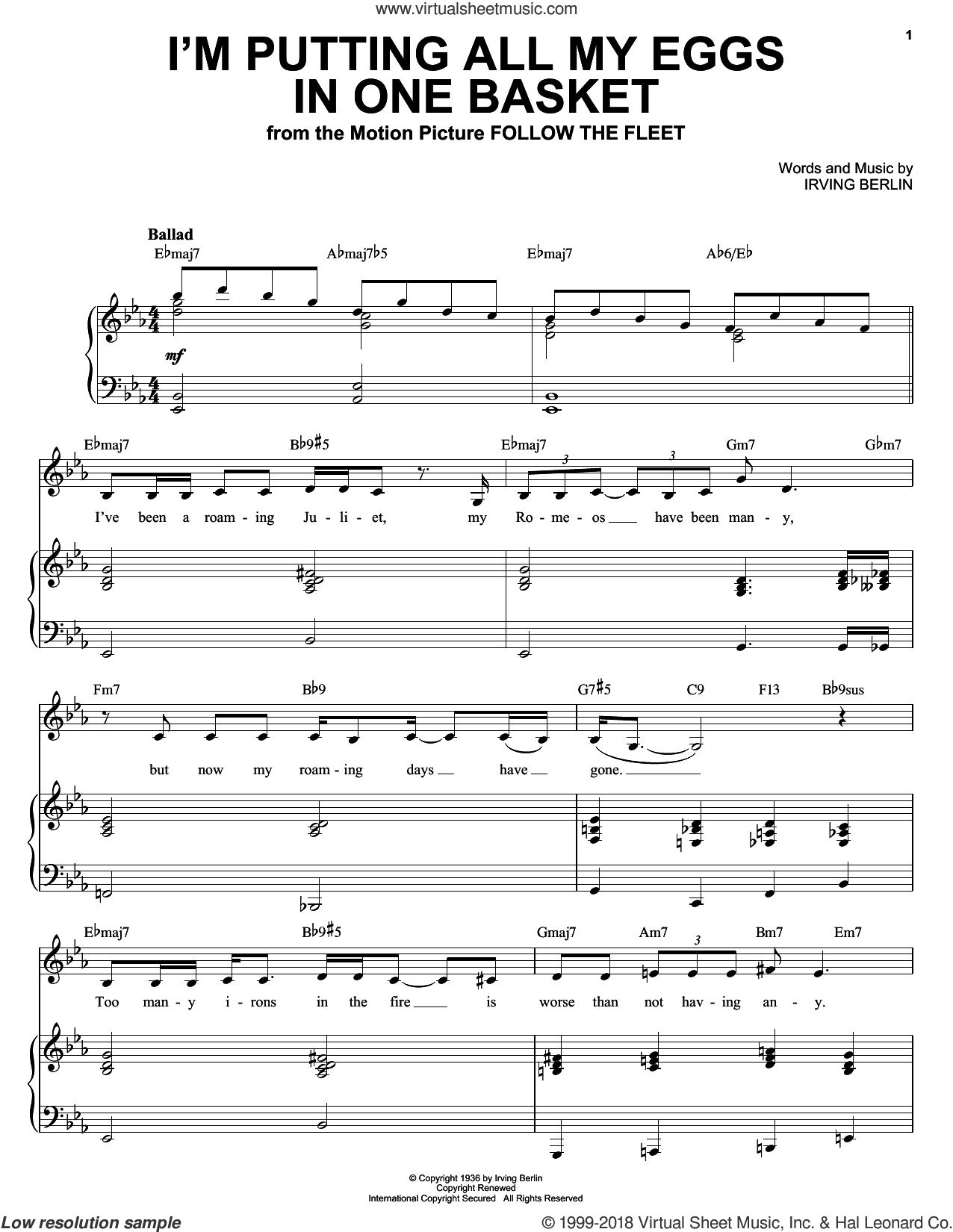 I'm Putting All My Eggs In One Basket sheet music for voice and piano by Ella Fitzgerald, Fred Astaire, Louis Armstrong and Irving Berlin, intermediate skill level