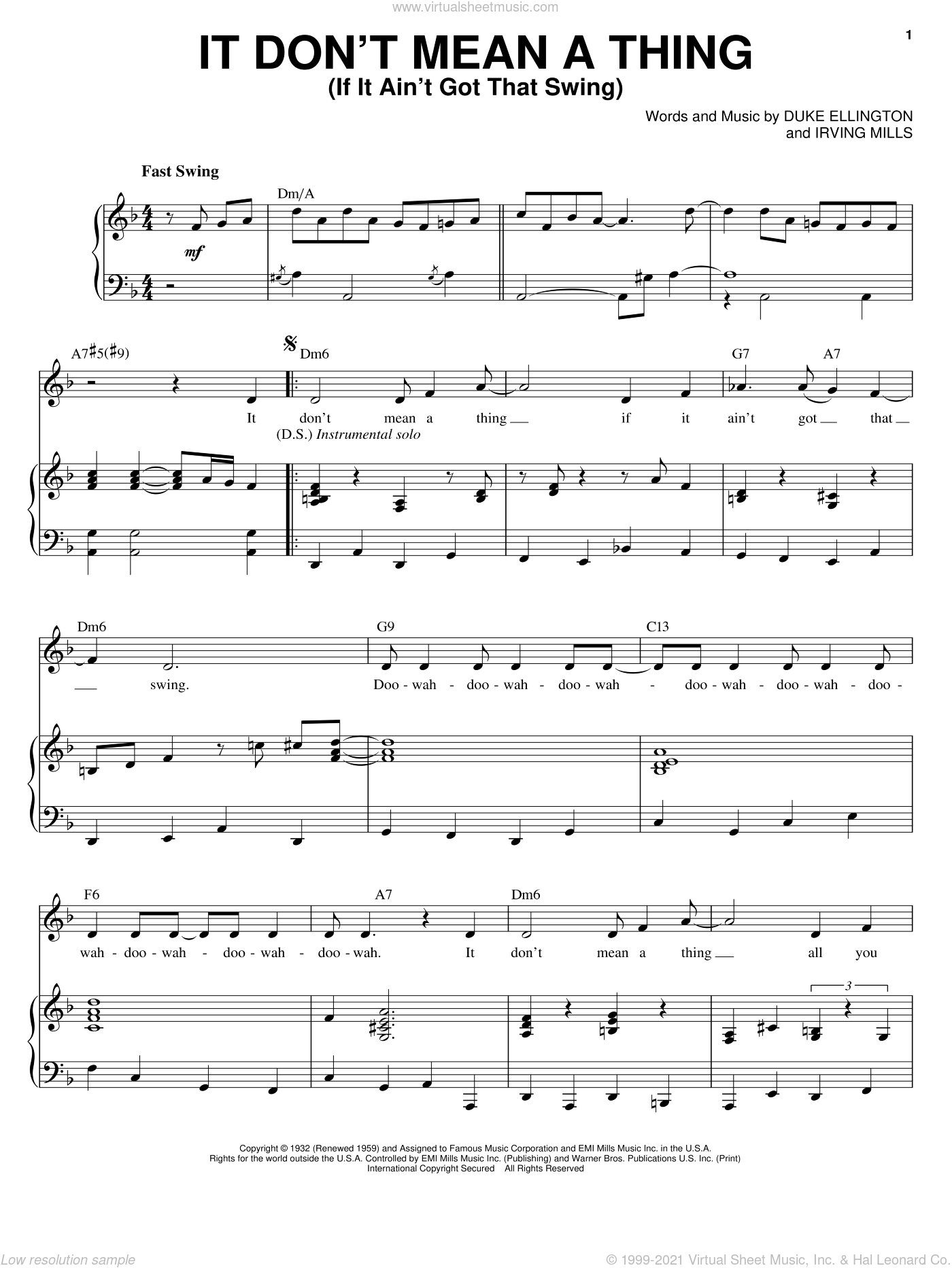 It Don't Mean A Thing (If It Ain't Got That Swing) sheet music for voice and piano by Ella Fitzgerald, Chet Atkins, Ivie Anderson, Lionel Hampton, Louis Armstrong, Nina Simone, The Mills Brothers, Duke Ellington and Irving Mills, intermediate skill level