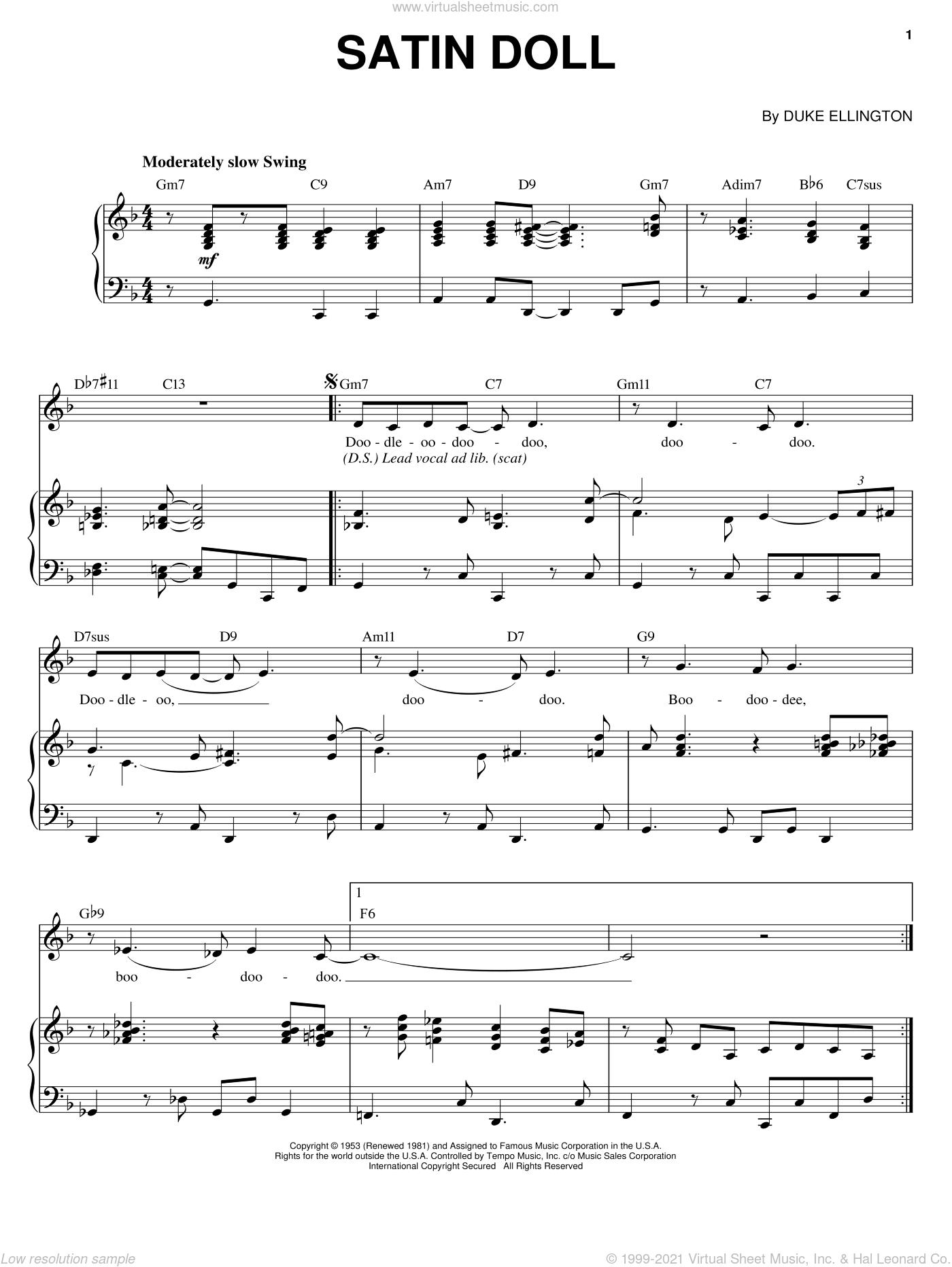 Satin Doll sheet music for voice and piano by Ella Fitzgerald, Billy Strayhorn, Duke Ellington and Johnny Mercer, intermediate skill level
