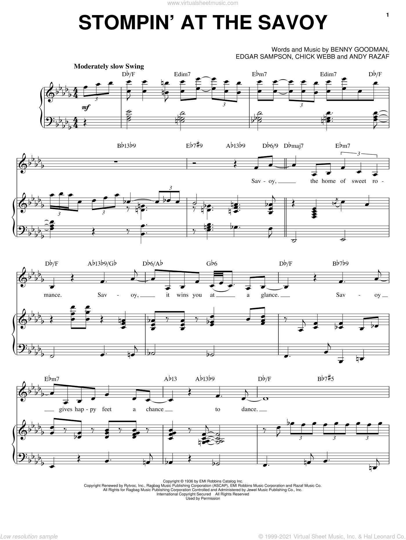 Stompin' At The Savoy sheet music for voice and piano by Ella Fitzgerald, Erroll Garner, Gene Krupa, Judy Garland, Louis Armstrong, Norah Jones, Teddy Wilson, Andy Razaf, Benny Goodman, Chick Webb and Edgar Sampson, intermediate skill level
