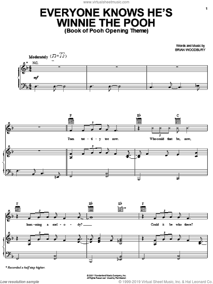 Everyone Knows He's Winnie The Pooh (Book Of Pooh Opening Theme) sheet music for voice, piano or guitar by Brian Woodbury, intermediate skill level