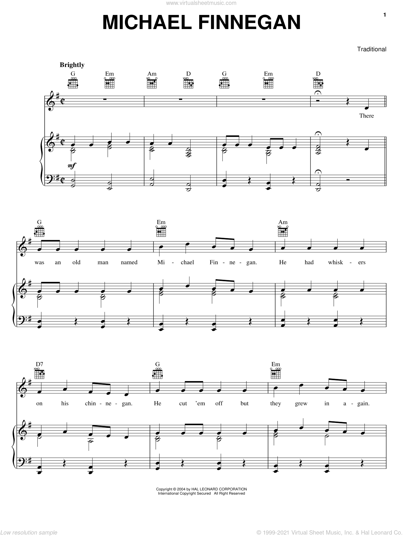 Michael Finnegan sheet music for voice, piano or guitar, intermediate skill level