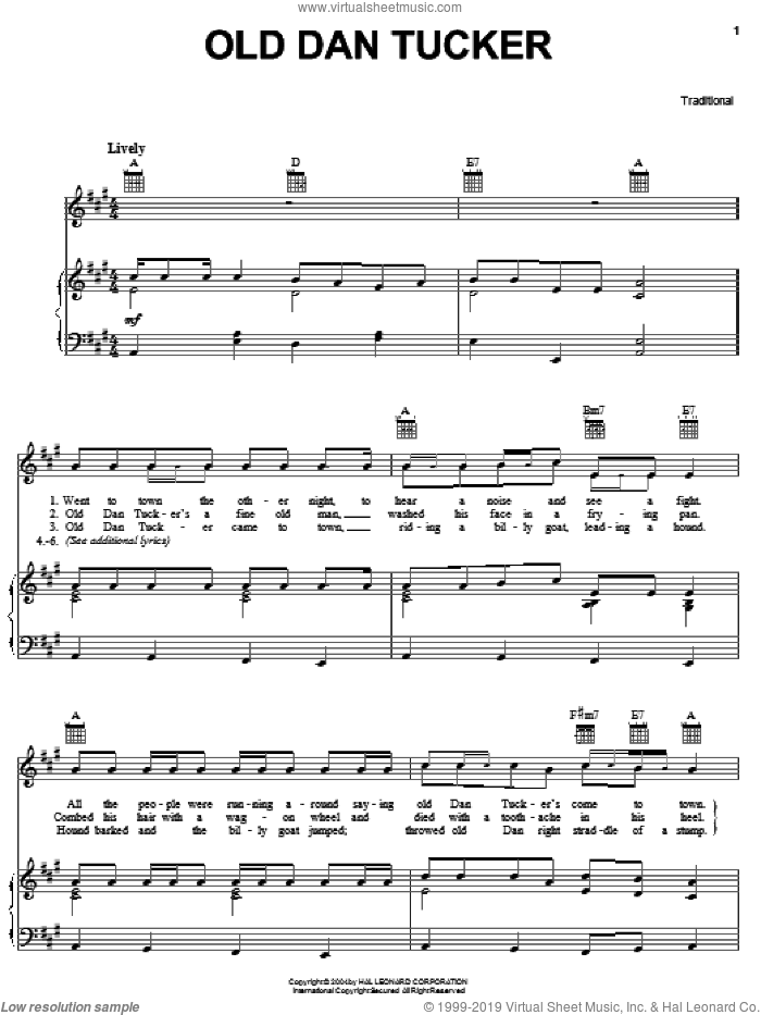 Old Dan Tucker sheet music for voice, piano or guitar. Score Image Preview.