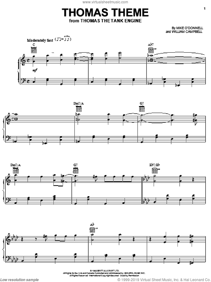 Thomas Theme sheet music for piano solo by Mike O'Donnell and William Campbell, intermediate skill level