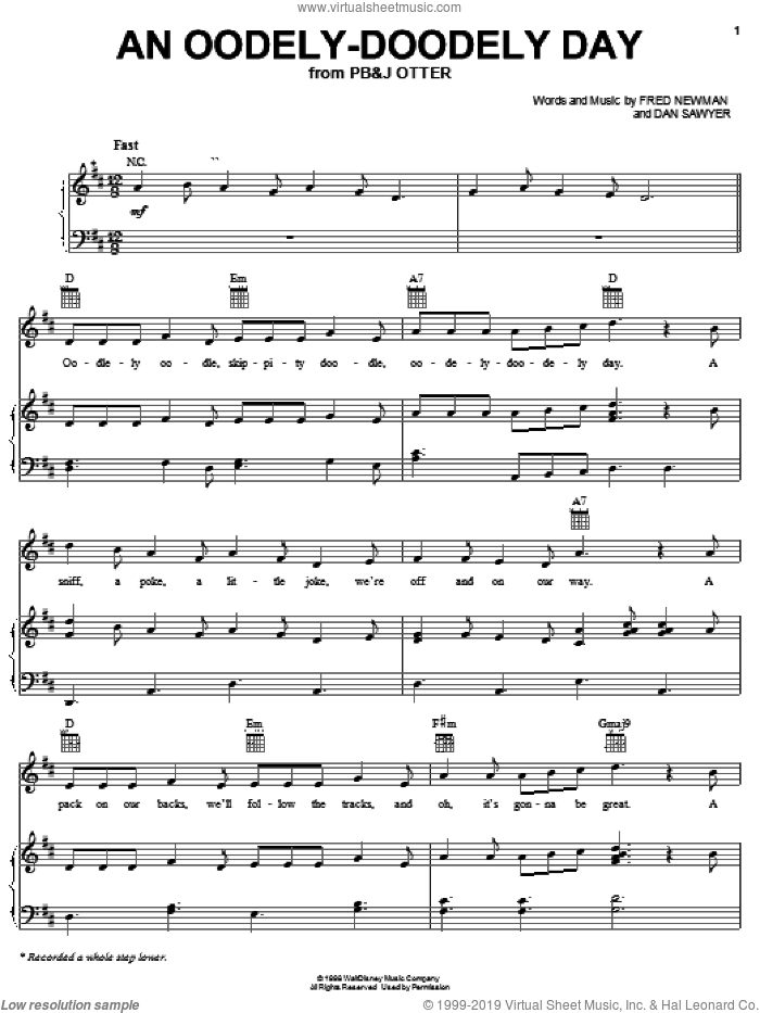 An Oodely-Doodely Day sheet music for voice, piano or guitar by Fred Newman and Dan Sawyer, intermediate skill level