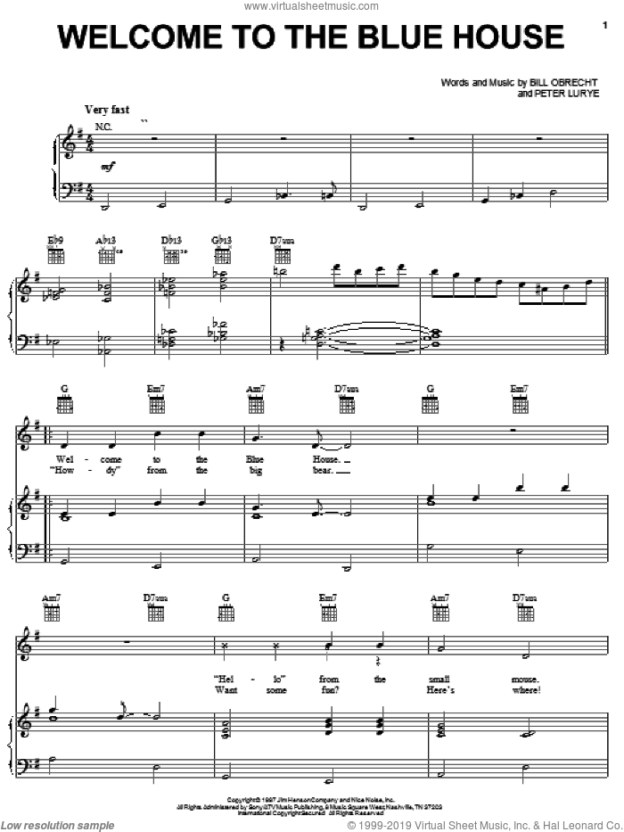Welcome To The Blue House sheet music for voice, piano or guitar by Bill Obrecht and Peter Lurye, intermediate. Score Image Preview.