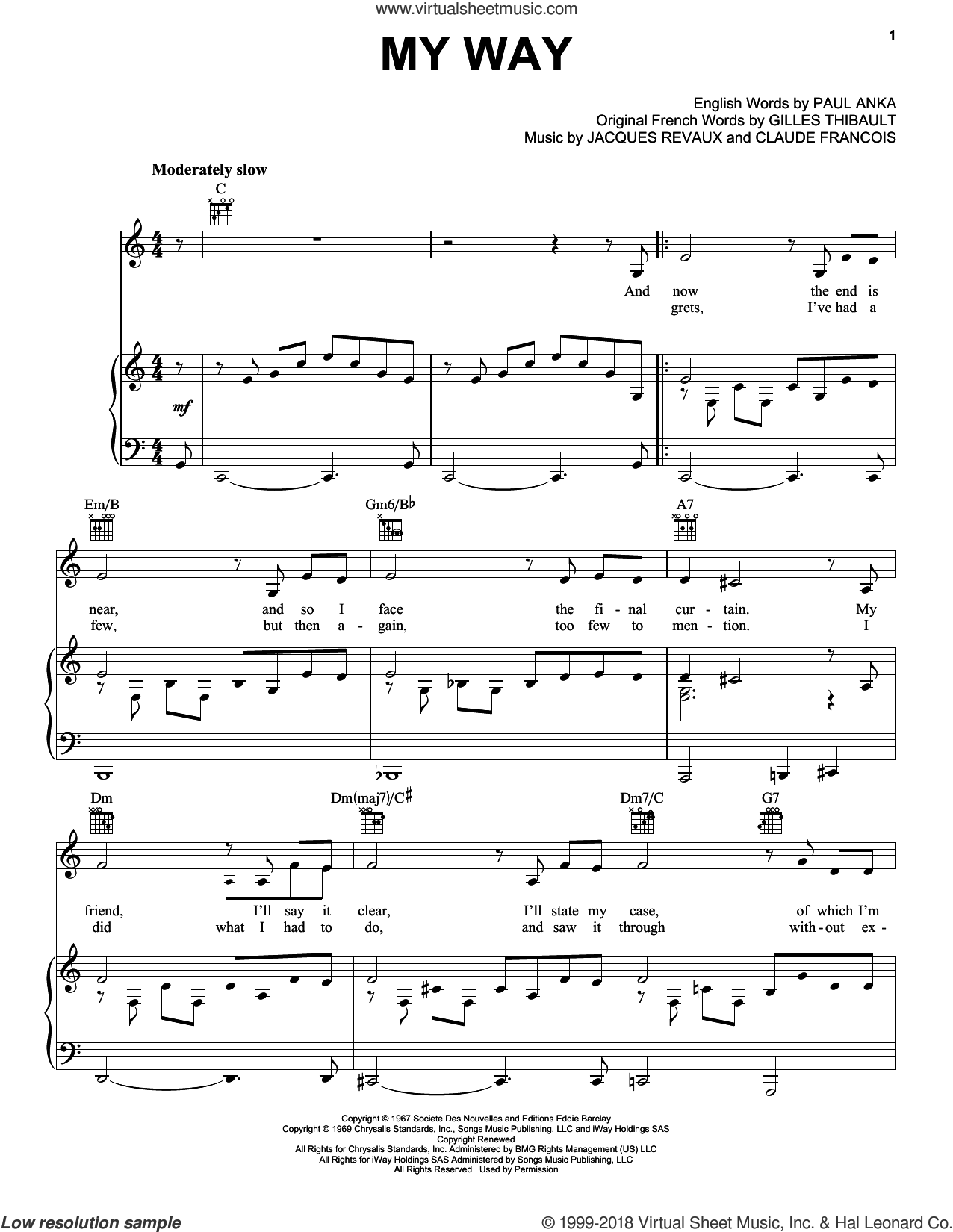 My Way sheet music for voice, piano or guitar by Jacques Revaux